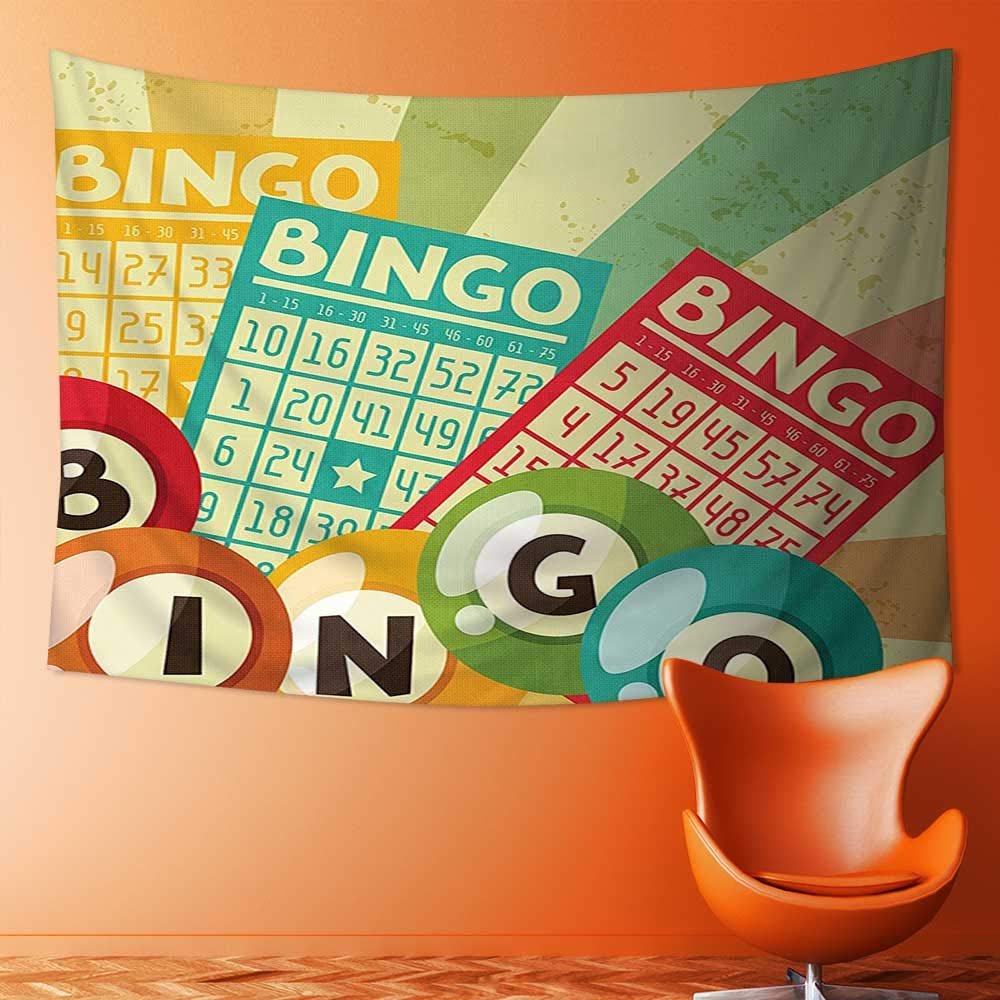 SOCOMIMI Decor Tapestry Wall Hanging by Bingo Game with Ball and Cards Pop Art Stylized Lottery Hobby Celebration Theme Home Decoration Wall Tapestry Hanging by SOCOMIMI