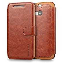 M8 Case,HTC One M8 Case Wallet,Mulbess [Layered Dandy][Vintage Series][Coffee Brown] - [Ultra Slim][Wallet Case] - Leather Flip Cover With Credit Card Slot for HTC One M8