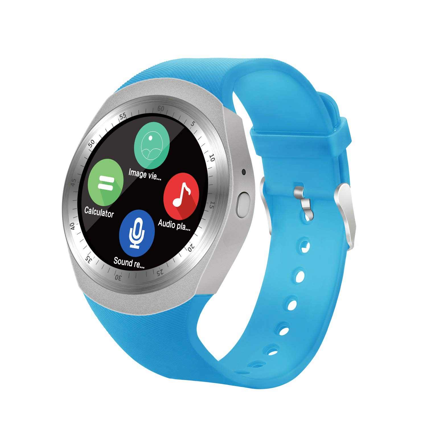 Bluetooth Smart Watch Unlocked Cell Phone Watch with SIM Card Slot Smartwatch for Samsung LG HTC Sony Google Huawei Xiaomi Android Smart Phones (Blue)
