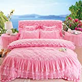 Korean Lace Ruffles Bedding Sets - Lotus Karen CP010 2017 New Arrival Romantic Heart Shape Patterns Solid Color Bedspread Set For Girls Including 1Duvet Cover,1Bedskirt,2Pillowcases