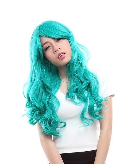 lemail peluca 60 - 65 cm de largo Color Turquesa Oscuro Anime Ondulado Cosplay Peluca cw182 a: Amazon.es: Belleza