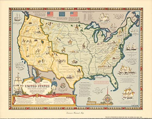 Amazon.com: Historic Map | A Map of The United States Showing ...