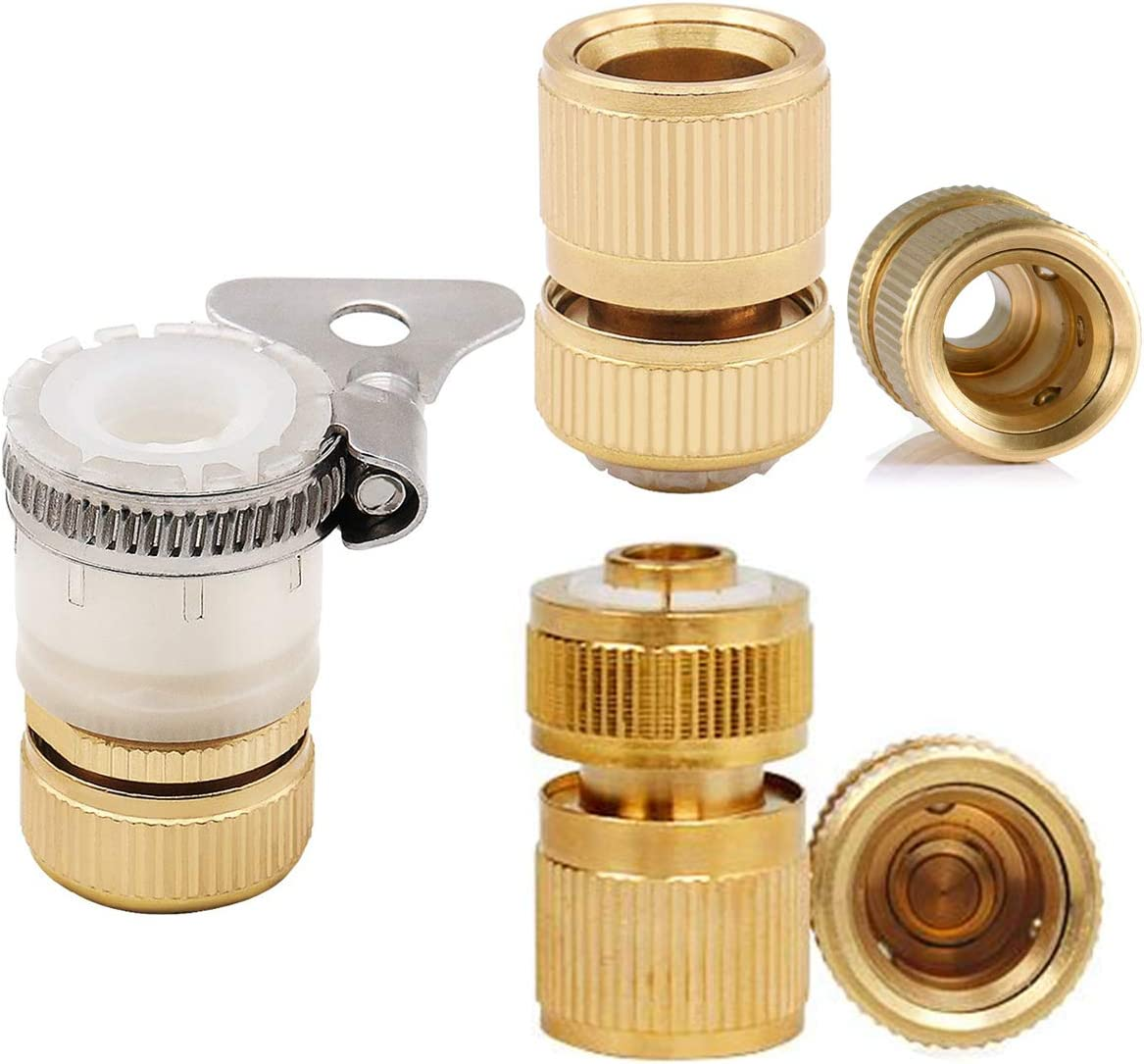 CT 3pc Brass Garden Hose Connector with Water Hose Pipe Fitting 1//2 Quick Connector One With and one Without /'Water Stop/' Function
