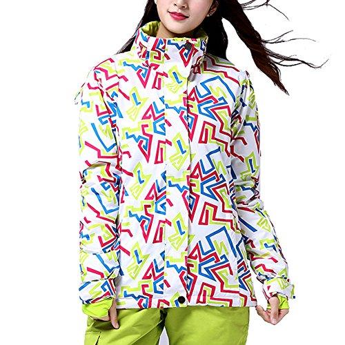 iPretty Skianzug Damen Regenjacke Skijacke mit kapuze Schneeanzug Skihose Softshell Jacke damen wasserdicht atmungsaktiv Snowboardhose-Grün(Jacke)-XL