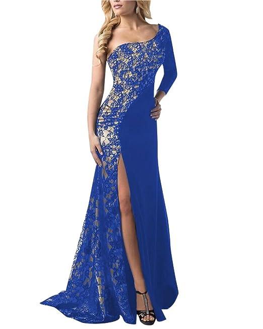 DianShao Mujer Vestidos De Noche Fiesta Elegante Largos Fiesta Para Bodas Un Hombro Azul S