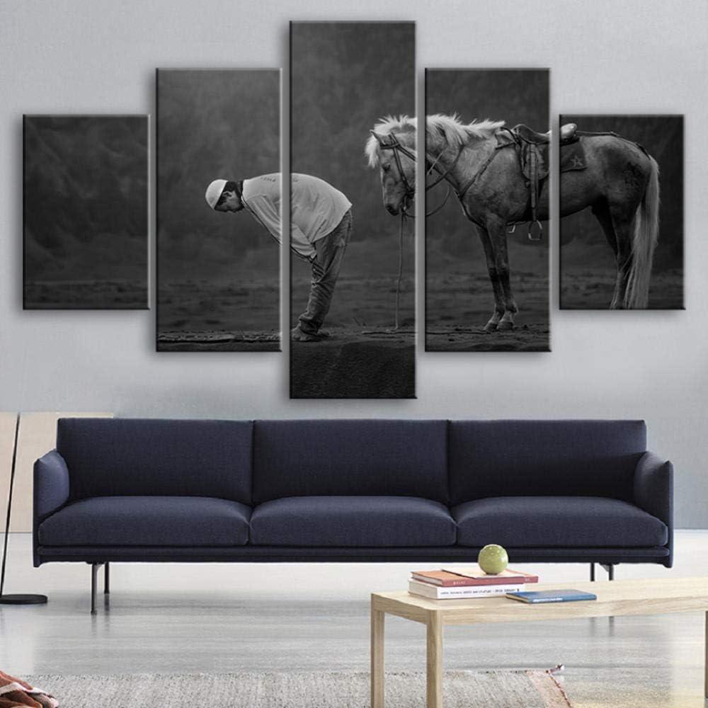 Bzdmly Arte de la Pared 5 Piezas Arte de la Lona Caballos Musulmanes Animales Cuadros de la Lona Posters Cuadros de la Pared Salón Marco de la decoración-B
