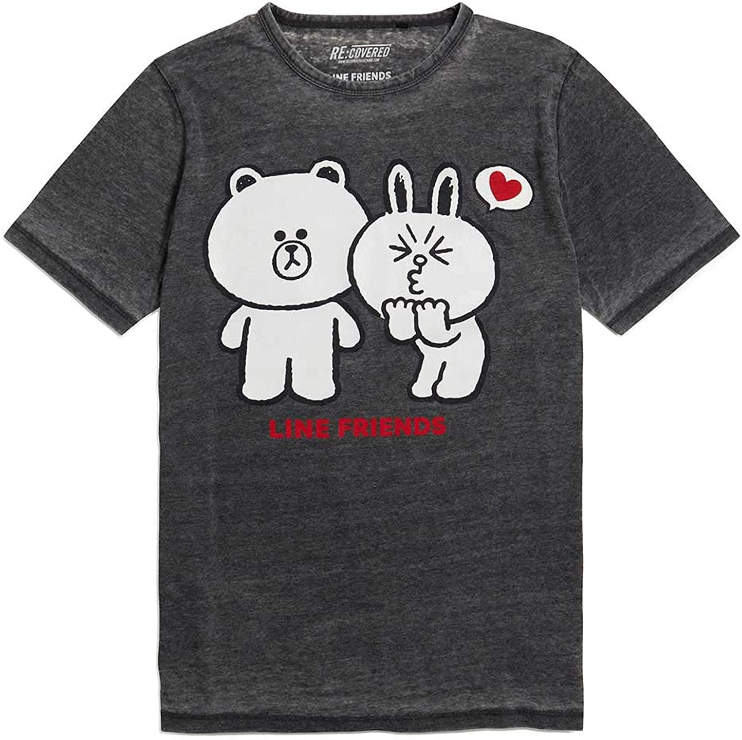 Recovered Line Friends Brown and Cony Vintage Charcoal Camiseta: Amazon.es: Ropa y accesorios