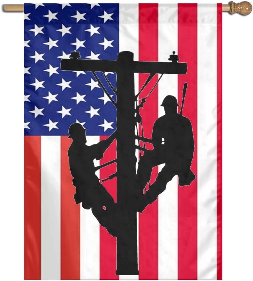 JINYOUR Home Flag Two Lineman American Flag House Flag Garden Flag 27