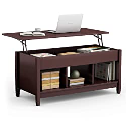 picture of TANGKULA Coffee Table Lift Top Wood Home Living