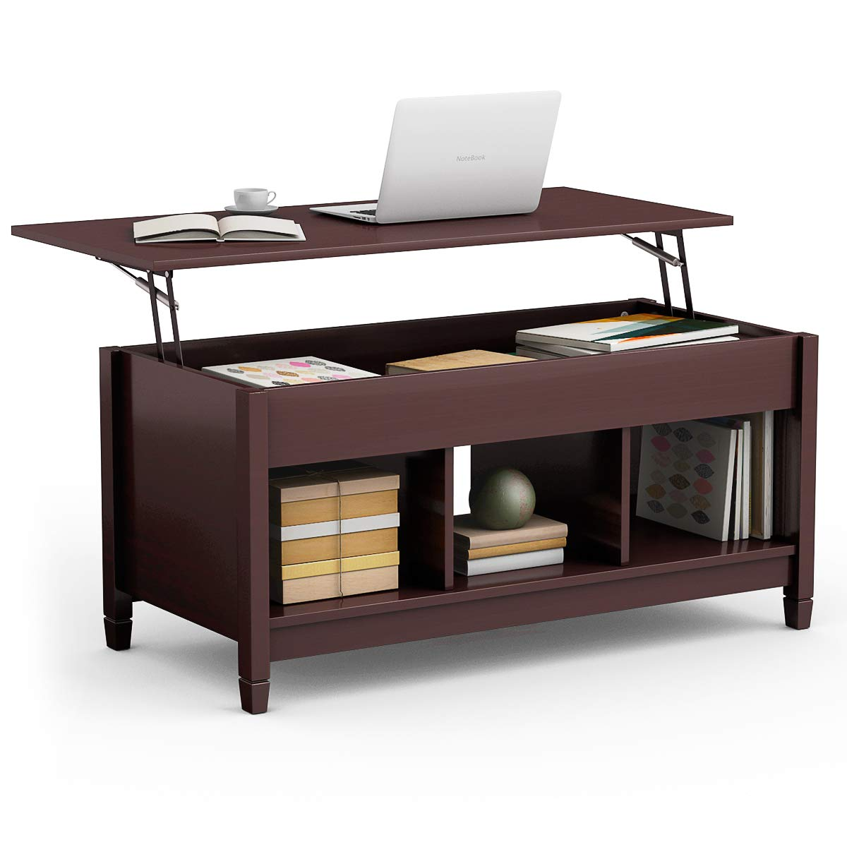 TANGKULA Coffee Table Lift Top Wood Home Living Room Modern Lift Top Storage Coffee Table w/Hidden Compartment Lift Tabletop Furniture by Tangkula