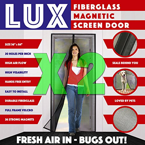 [2 Pack] Magnetic Screen Door New 2017 Design Full Frame Velcro & Fiberglass Mesh Not Nylon This Instant Retractable Bug Screen Opens and Closes like Magic it's the Last Screen You'll Need