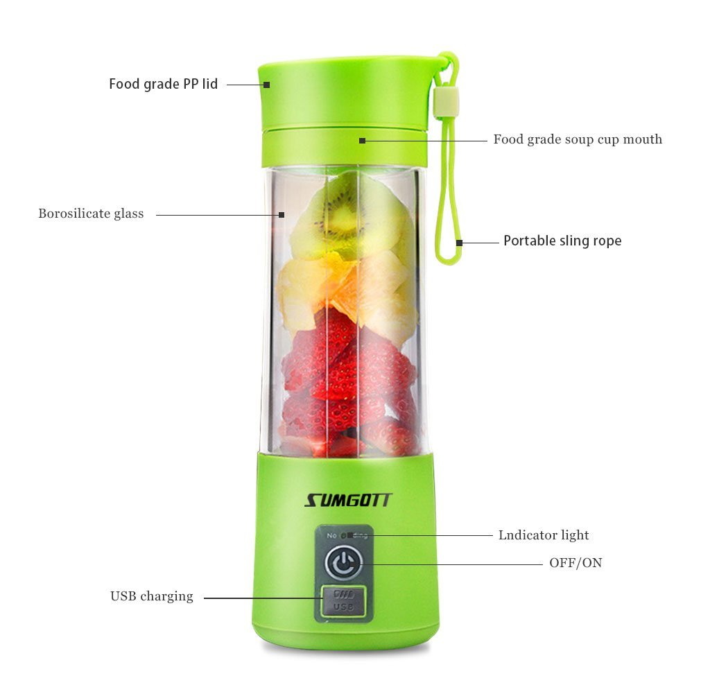 Portable Blender USB Juicer Cup - SUMGOTT Juicer Machine with USB Charger Fruit Mixing Machine Personal Size Rechargeable Juice Blender and Mixer by SUMGOTT (Image #4)