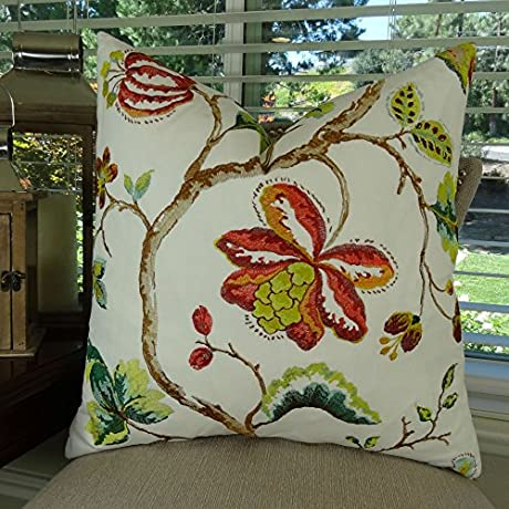 Thomas Collection Coral Red Floral Throw Pillow Coral Red Green White Floral Throw Pillow Designer Floral Accent Pillow Embroidered Pillow COVER ONLY NO INSERT Made In America 11431