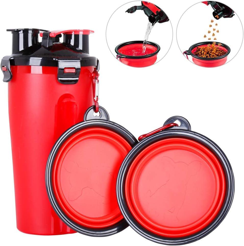 Powerking Botella de Agua para Perro, 350ml 2 en 1 PP para Mascotas, y Botella para Perro con 250 g Contenedor de alimento para Mascotas para Caminar/Viajar, tazones Plegables para Perros(Rojo)