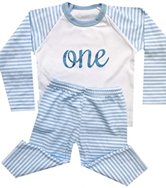 0b7fe6736eb4 Boy s Personalised Numbered Blue White Striped Pyjama Set