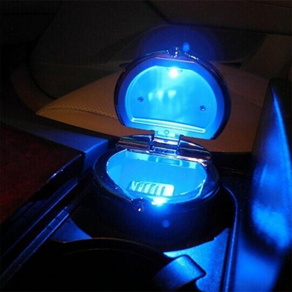 Plata Emorias 1 Pcs Cenicero de Coche con Luz Lluminaci/ón La Noche LED Papelera Port/átil con Tira de Sellado Accesorios Coche Decoracion