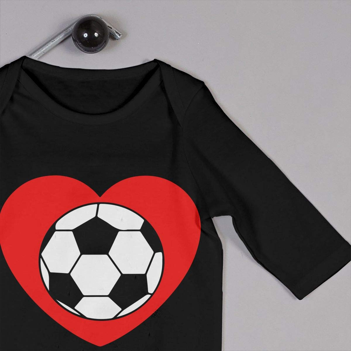 A Soccer Ball in A Heart Baby Boy Girl Long Sleeve Infant Bodysuit