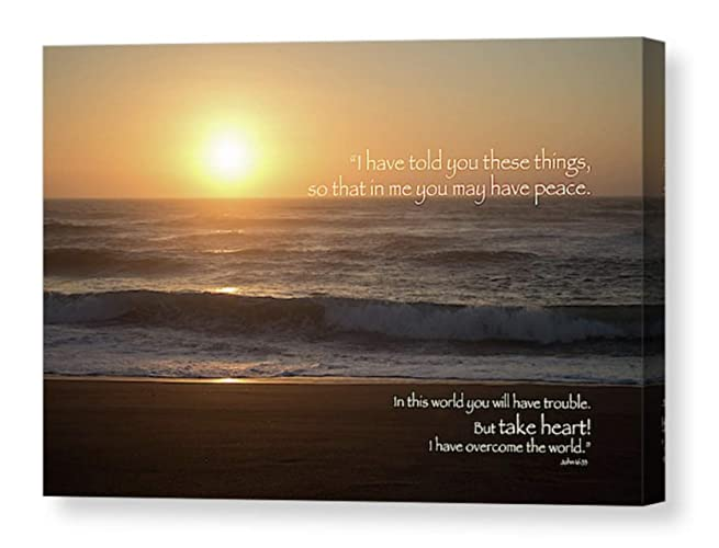 Amazon com: Sunset CANVAS Photo Inspirational Quote Peace Comfort