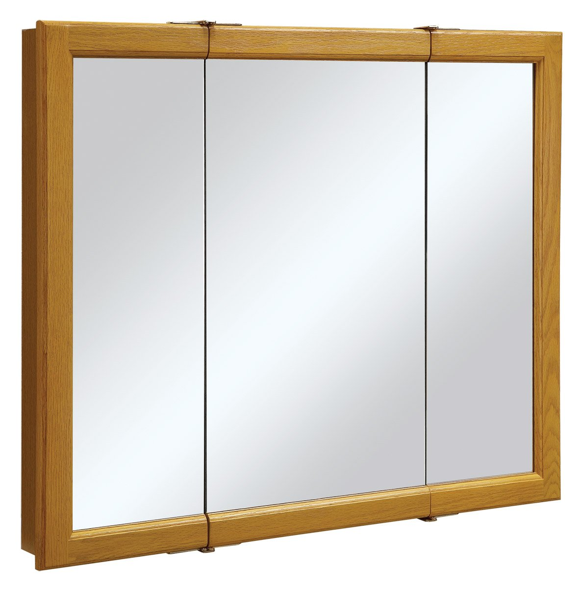 Design House 545285 Claremont Honey Oak Tri-View Medicine Cabinet Mirror with 3-Doors, 36-Inches by 30-Inches