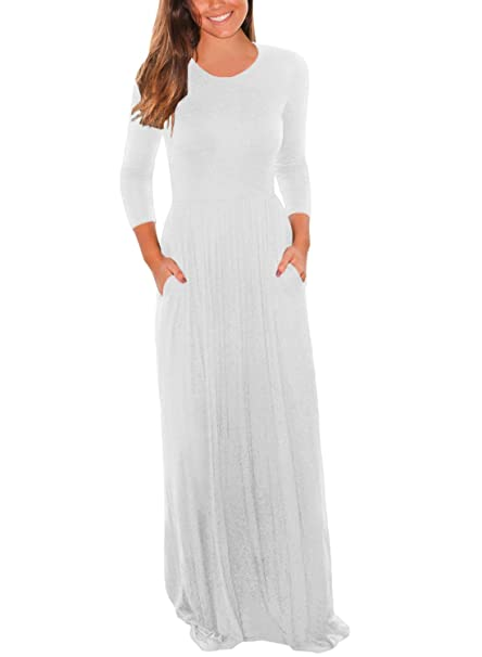 Review Lovezesent Women's 3 4 Sleeve Round Neck Long Maxi Casual Dress