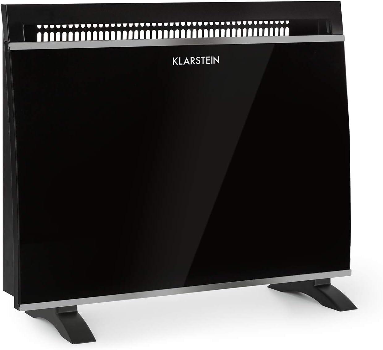 Klarstein Gotland - Convector de Vidrio, Potencia 3 Niveles: 600, 900 y 1500W, Radiador con Perilla y termostato, Seguro de Temperatura Integrado, Aparato de Suelo, Diseño Moderno, Negro