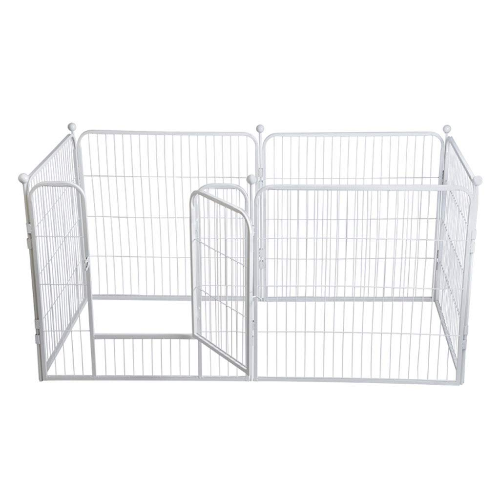 Free Combination, Pet Fence Large Dog Folding Pet Nest White Square Tube Paint Pet Supplies 80  80CM (6 Pieces)