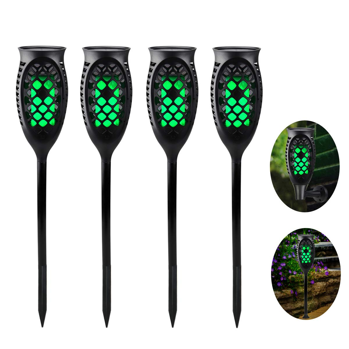 Juhefa Solar Lights Outdoor, Solar Torch Light Green Flickering Flame 99 LED Waterproof Garden Lighting Pathway Patio Landscape Decoration, 3 Modes & 3 Installation Ways, Dusk to Dawn Auto On/Off (4)
