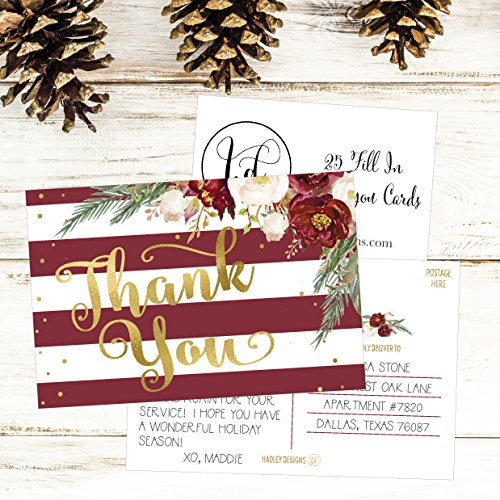 25 4x6 Blank Christmas Holiday Thank You Postcards Bulk, Cute Modern Fancy Winter Note Card Stationery For Wedding, Bridesmaids, Bridal or Baby Shower, Teachers, Appreciation,Religious, Business Cards Photo #5