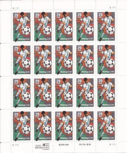 World Cup Soccer Sheets - US Stamp - 1994 29c World Cup Soccer - 20 Stamp Sheet - Scott #2834
