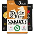 Kettle and Fire Mushroom Chicken, Beef, and Chicken Bone Broth Variety Pack, Keto, Paleo, and Whole 30 Approved, Gluten Free,