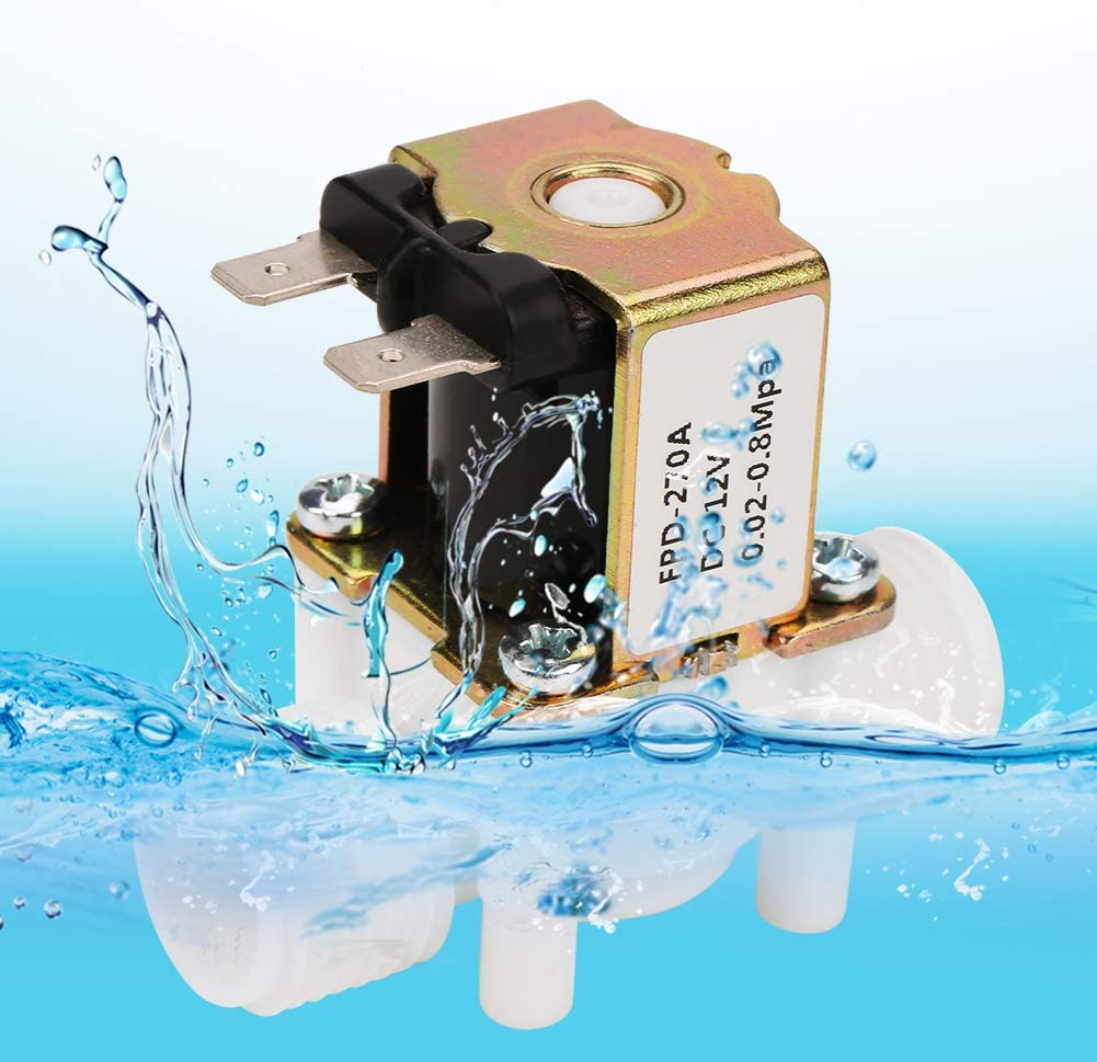 Akozon 12V G1//2 NC Plastic Electrical Inlet Solenoid Water Valve for Water Dispense