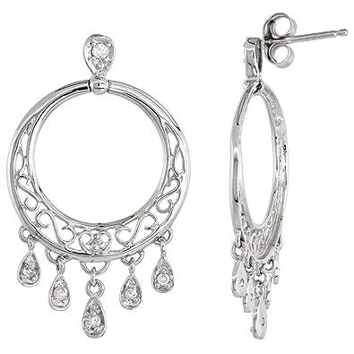Amazon 14k white gold chandelier earrings for women diamond 14k white gold chandelier earrings for women diamond drops filigree design 016 ct 1 1 aloadofball Images