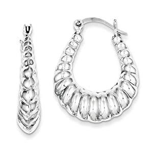 .925 Sterling Silver 31 MM Diamond-Cut Scalloped Hoop Earrings