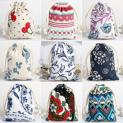 CORCIO 18Pcs Burlap Bags with Drawstring