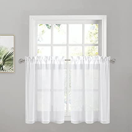 PONY DANCE Sheer Kitchen Curtains   Linen Look Semi Sheers Valances High  Thread Rod Pocket