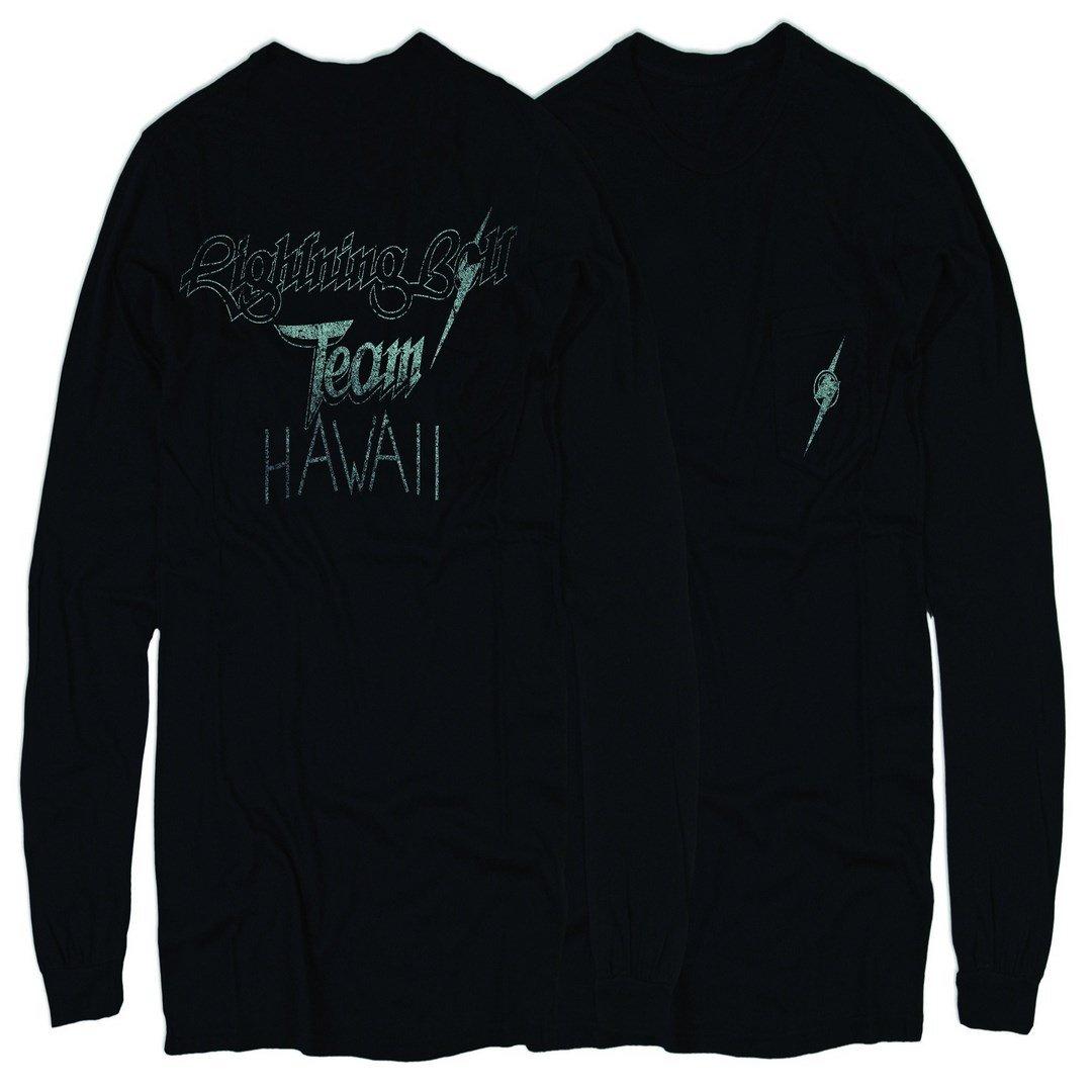 Hombre Black L.Bolt Team Hawaii Ls Pocket Tee Camiseta Manga Larga Negro M