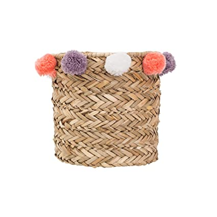 Chumbak Pompom Woven Storage Basket   Coral