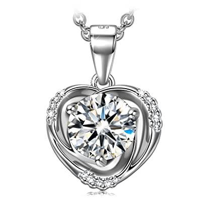 c97f11454ae8 PN PRINCESS NINA Women Sterling Silver CZ Crystal Heart Pendant Necklace  Valentine Gifts for Her Birthday