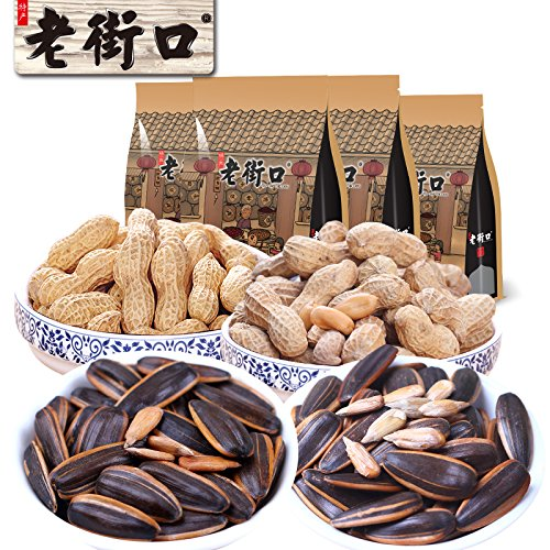 Aseus Chinese delicacies The old street - [1840G] package combination of peanut seeds nuts snacks sunflower 4 bags of roasted seeds and nuts by Aseus-Ltd