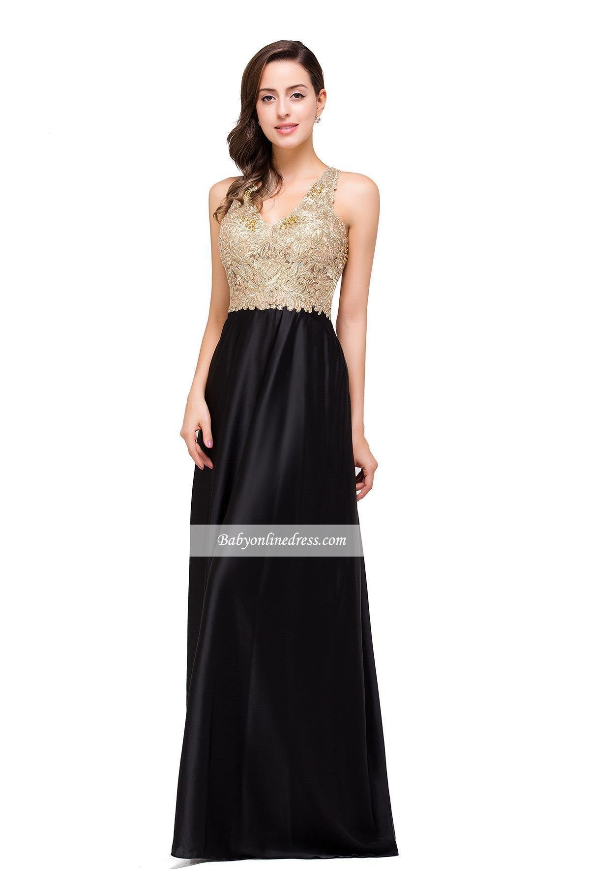 Best Christmas Gift~ Big Promotion For Christmas Day!Gold Sleeveless V-Neck Black Prom Dress A-Line Open-Back Long Evening Gowns (8, Gold)