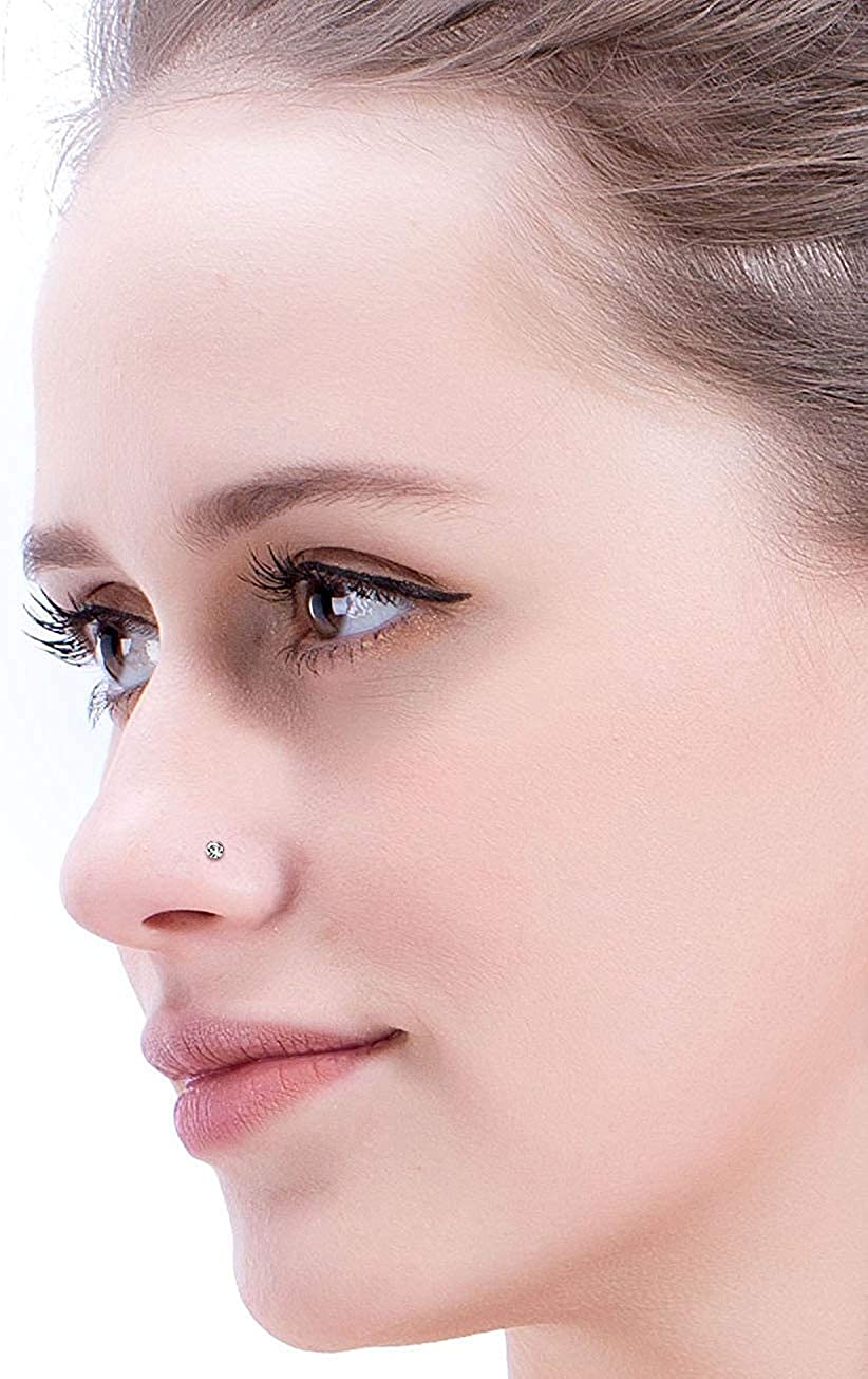 Hanpabum 96-108 Pcs 20G Stainless Steel Nose Stud Ring Piercing Pin Kit Crystal Star Heart Nose Piercings Jewelry 1.5mm 1.8mm 2mm 3.5mm
