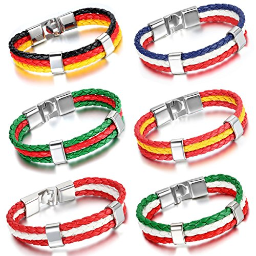 Aroncent Football Leather Bracelet Wristband