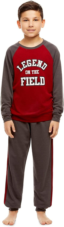 2 Piece Jellifish Kids Boys Long Sleeve Pajama Set Long Sleeve Print Top /& Jogger PJ Pants Burgandy