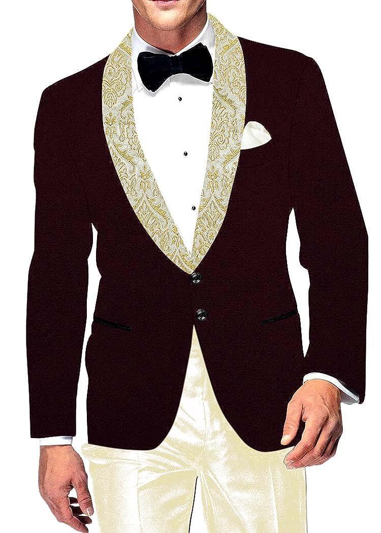 INMONARCH Mens Wine Velvet Blazer Two Button VB15345