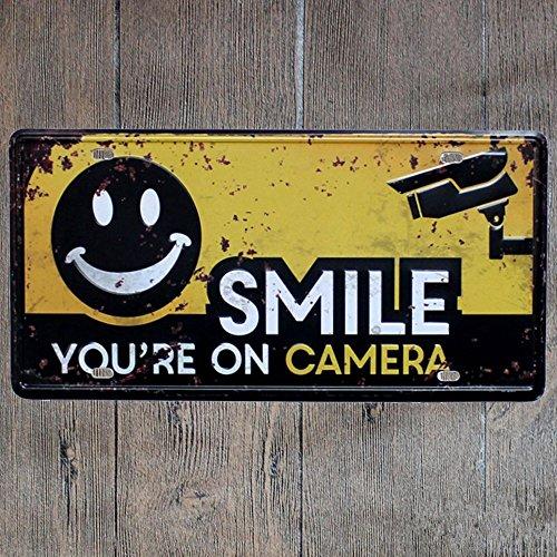 Smile You're on Camera Video Surveillance Sign Retro Tin Poster 12