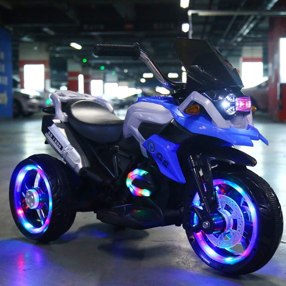 Charon Bambino Elettrico del Motociclo dei Bambini all'aperto Interno Doppio Drive LED Luce Equitazione Giocattolo USB Ricarica Musica Baby Slide Auto,blu