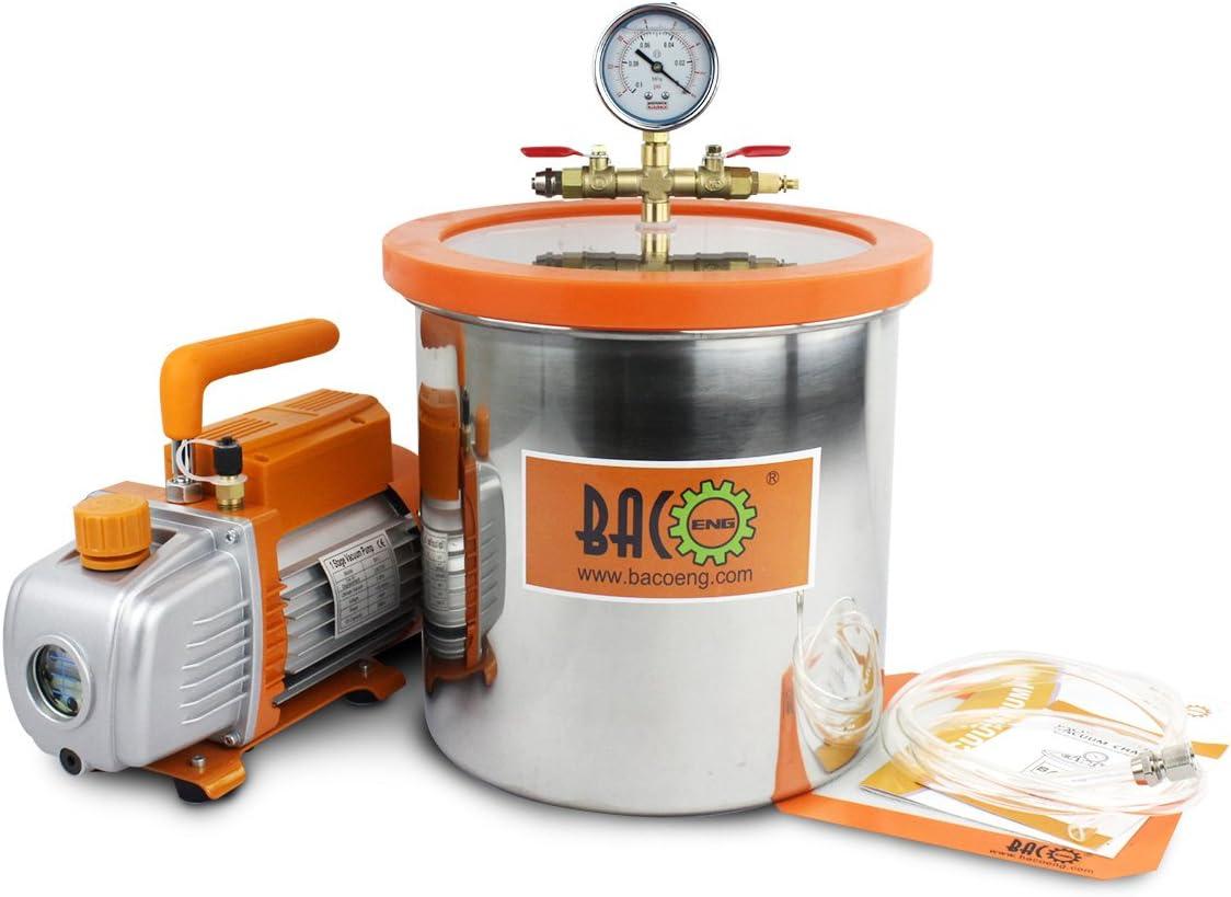 BACOENG Bomba de Vacío 85 L/min con 12 Litro Cámara de vacío