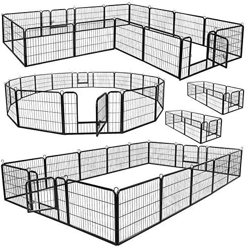 ZENY Foldable Metal Pet Exercise Playpen 16-Panels, 24 H