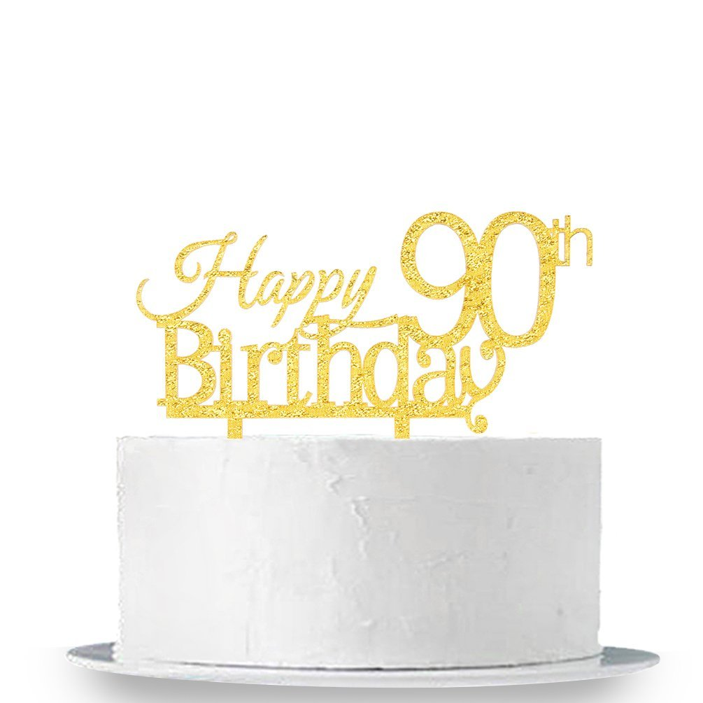 INNORU Happy 90th Birthday Cake Topper - Gold 90th Birthday Party Decoration Supplies