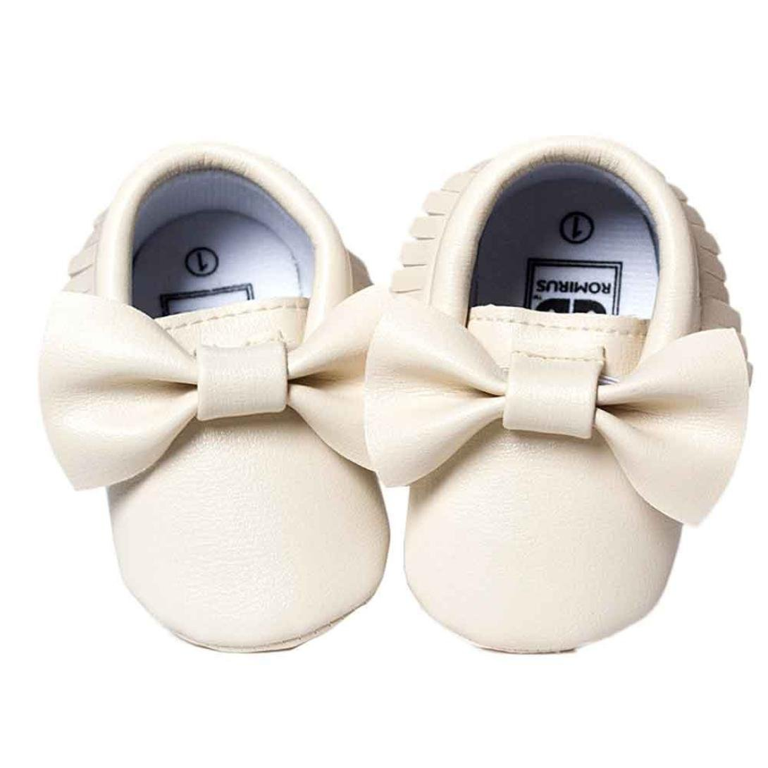 Voberry Baby Boys Girls Soft Soled Tassel Bowknots Crib Shoes PU Moccasins (0~6M, White)